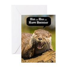 Fun Laughing Otter Birthday Greeting Card - Haa Ha