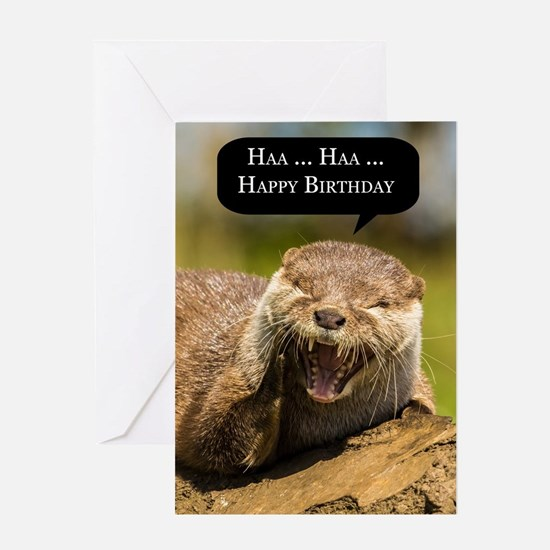 Fun Laughing Otter Birthday Greeting Card - Haa Ha