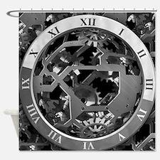 Clockwork Silver Shower Curtain