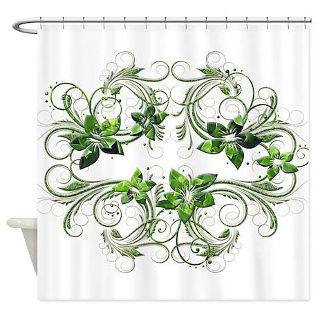 Elegant Green Petals Shower Curtain