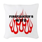 Firefighters Wife Flames Woven Throw Pillow