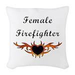 Female Firefighter Tattoo Woven Throw Pillow