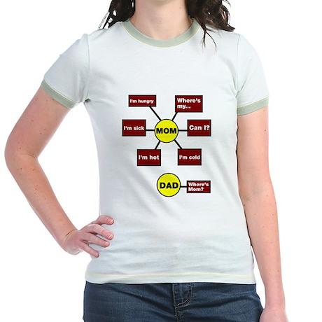 Mom Dad Flow Chart Diagram Jr. Ringer T-Shirt