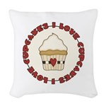 I Love Cupcakes Woven Throw Pillow
