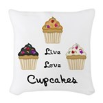 Live Love Cupcakes Woven Throw Pillow