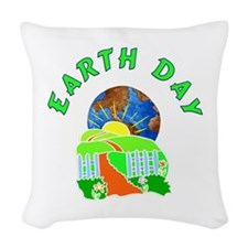 Earth Day At Home Woven Throw Pillow