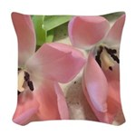 Pink Tulips In Bloom Woven Throw Pillow
