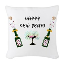 Happy New Year Woven Throw Pillow