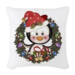 Christmas Penguin Holiday Wreath Woven Throw Pillo