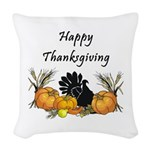 Happy Thanksgiving Woven Throw Pillow
