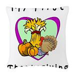 My First Thanksgiving Woven Throw Pillow