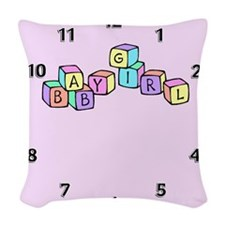 baby girl block2.png Woven Throw Pillow
