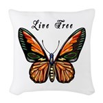 Butterfly Live Free Woven Throw Pillow