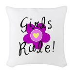Girls Rule Woven Throw Pillow
