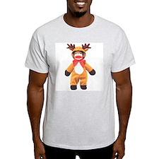 Reindeer Sock Monkey Ash Grey T-Shirt