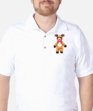 Reindeer Sock Monkey Golf Shirt