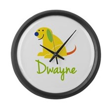 Dwayne Loves Puppies Large Wall Clock