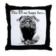 Pug Happy Face Throw Pillow