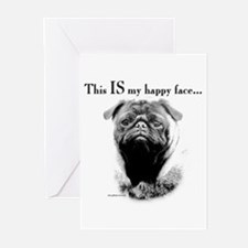 Pug Happy Face Greeting Cards (Pk of 10)