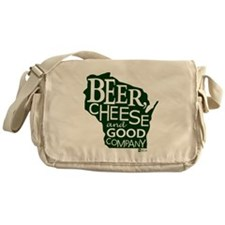Beer, Chees & Good Company in Green Messenger Bag