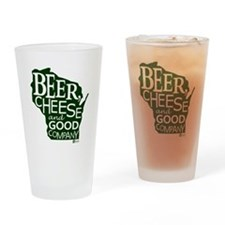 Beer, Chees & Good Company in Green Drinking Glass