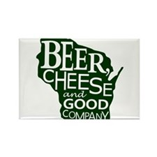 Beer, Chees & Good Company in Green Rectangle Magn