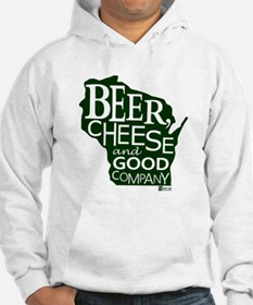 Beer, Chees & Good Company in Green Hoodie