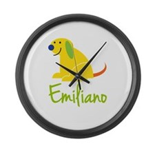 Emiliano Loves Puppies Large Wall Clock