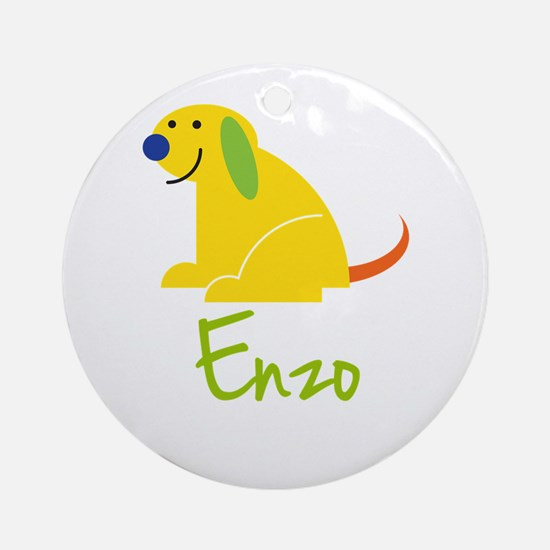 Enzo Loves Puppies Ornament (Round)
