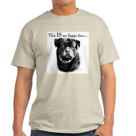 Rottweiler Happy Face Ash Grey T-Shirt