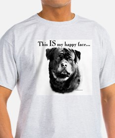 Rottweiler Happy Face Ash Grey T-Shirt
