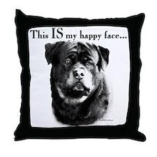 Rottweiler Happy Face Throw Pillow