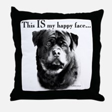Rottweiler Happy Face Throw Pillow