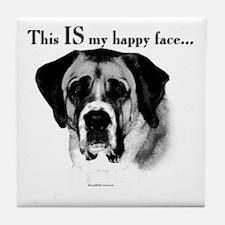 Saint Bernard Happy Face Tile Coaster