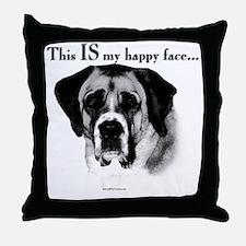 Saint Bernard Happy Face Throw Pillow