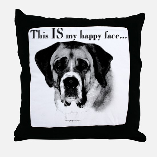 Saint Bernard Happy Face Throw Pillow