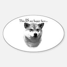 Shiba Inu Happy Face Oval Decal