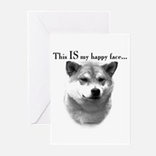 Shiba Inu Happy Face Greeting Cards (Pk of 10)