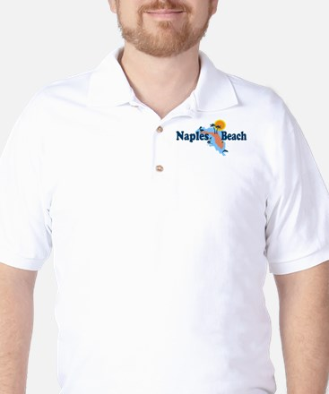 Naples Beach - Map Design. Golf Shirt