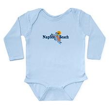 Naples Beach - Map Design. Long Sleeve Infant Body