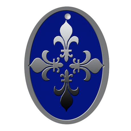 Silver & Blue Fleur De Lis Christmas Ornament Oval