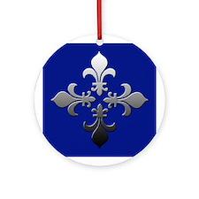 Blue & Silver Fleur de Lis Ornament (Round)