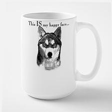 Husky Happy Face Large Mug