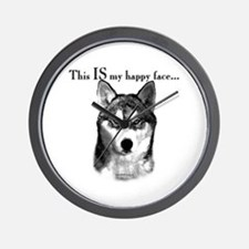 Husky Happy Face Wall Clock