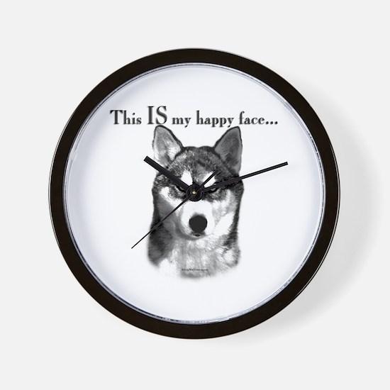 Husky Happy Face Wall Clock