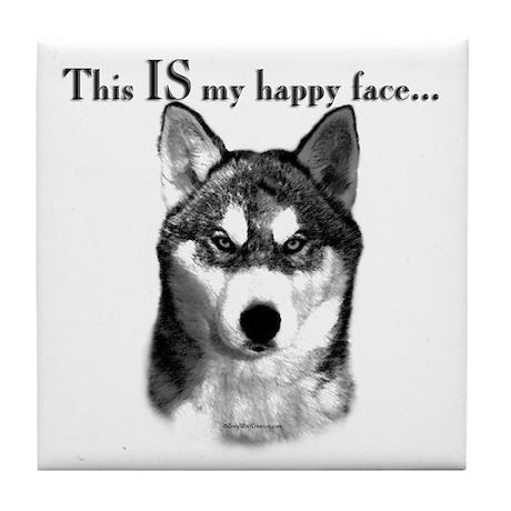 Husky Happy Face Tile Coaster
