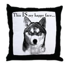 Husky Happy Face Throw Pillow