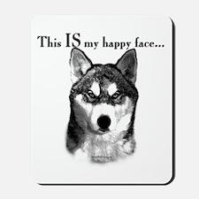 Husky Happy Face Mousepad