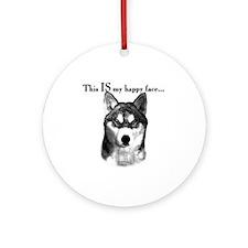 Husky Happy Face Ornament (Round)
