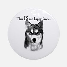 Husky Happy Face Ornament (Round)